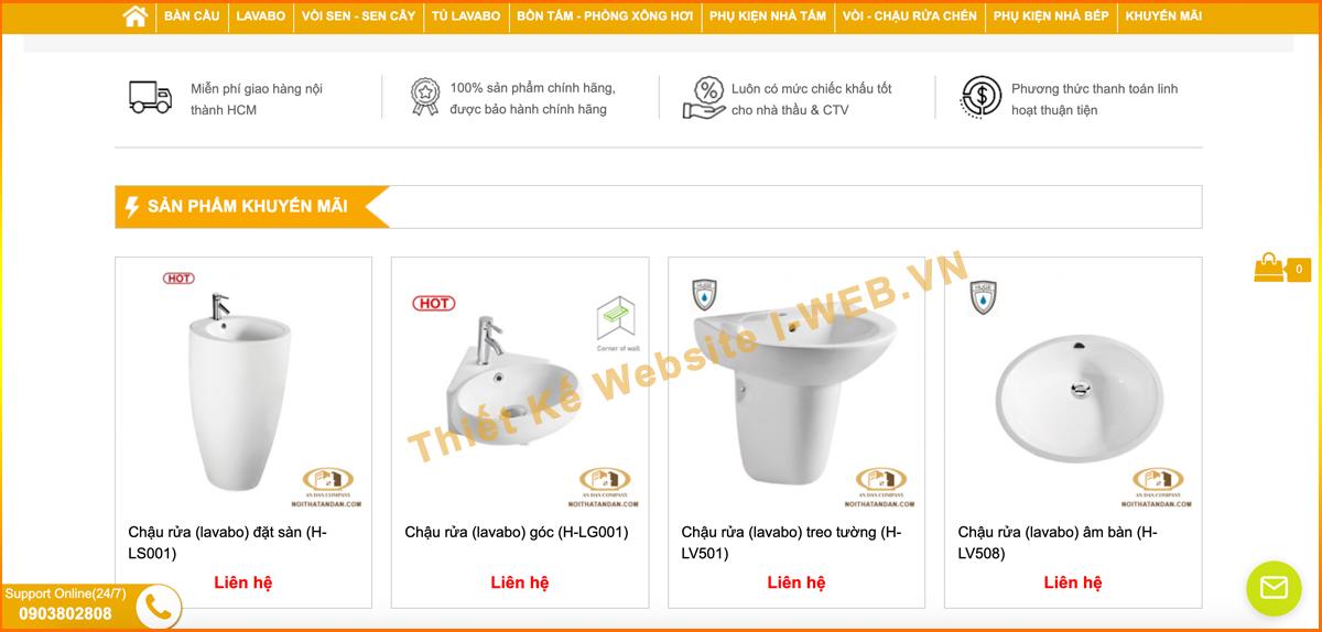 giao diện web thiết bị vệ sinh