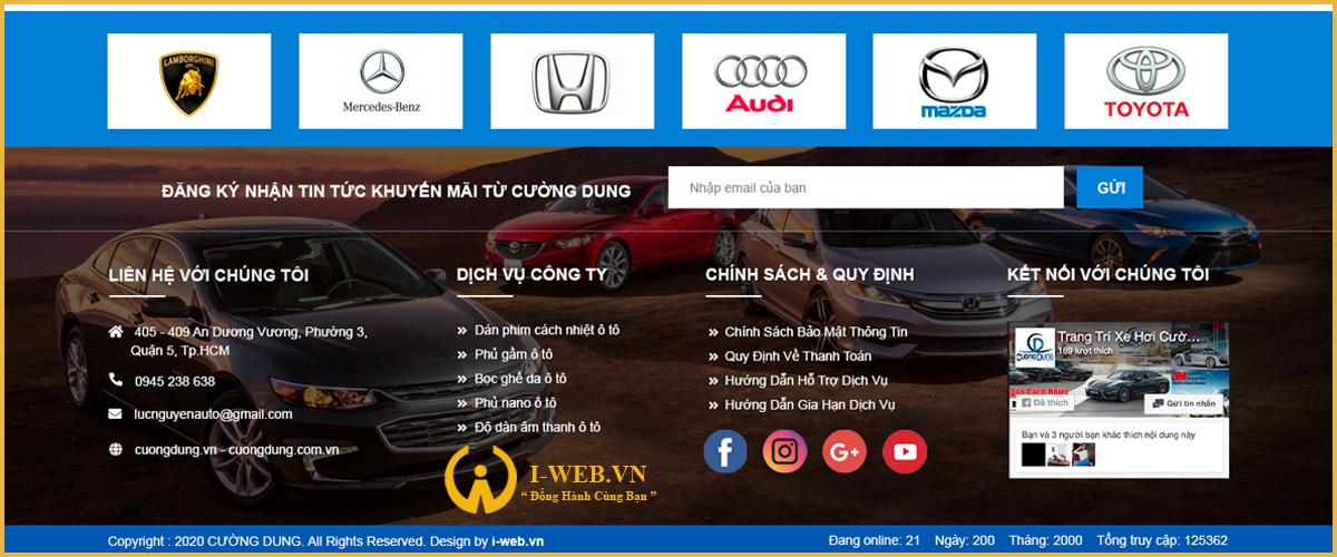 dịch vụ thiết kế website đồ chơi xe hơi tại i-web
