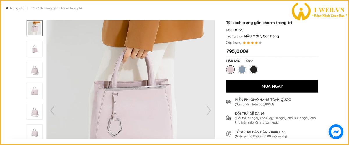 chức năng thiết kế web túi xách