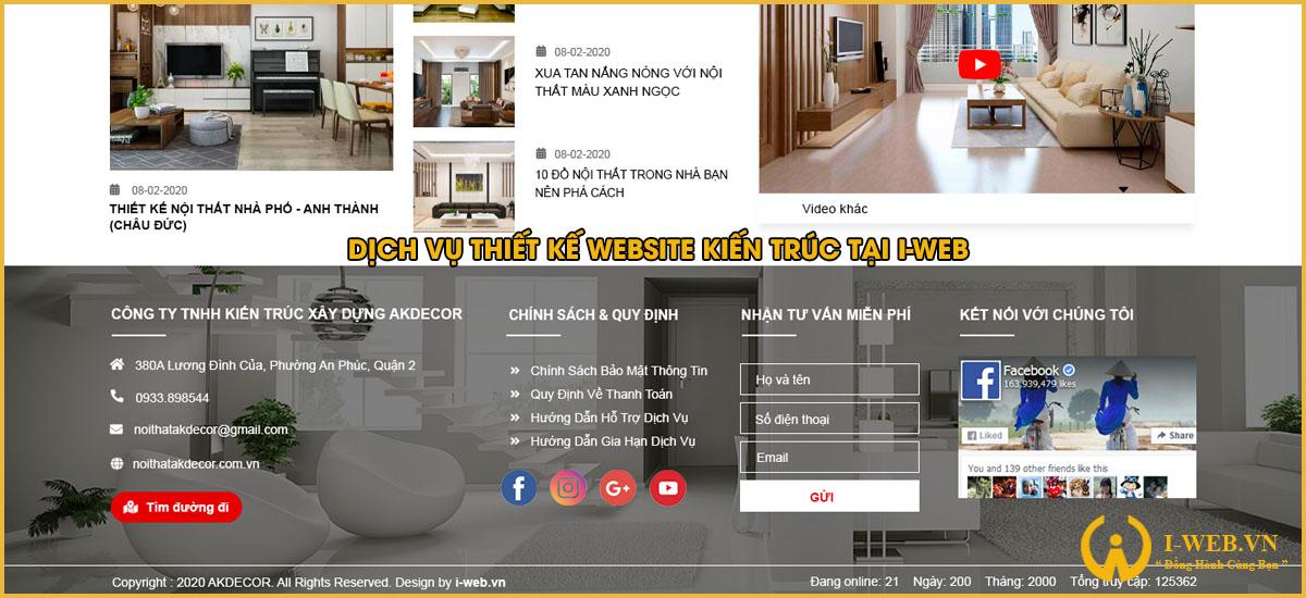 dịch vụ thiết kế web kiến trúc