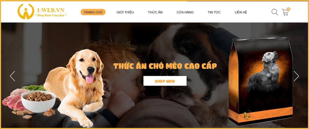 giao diện thiết kế web thú cưng