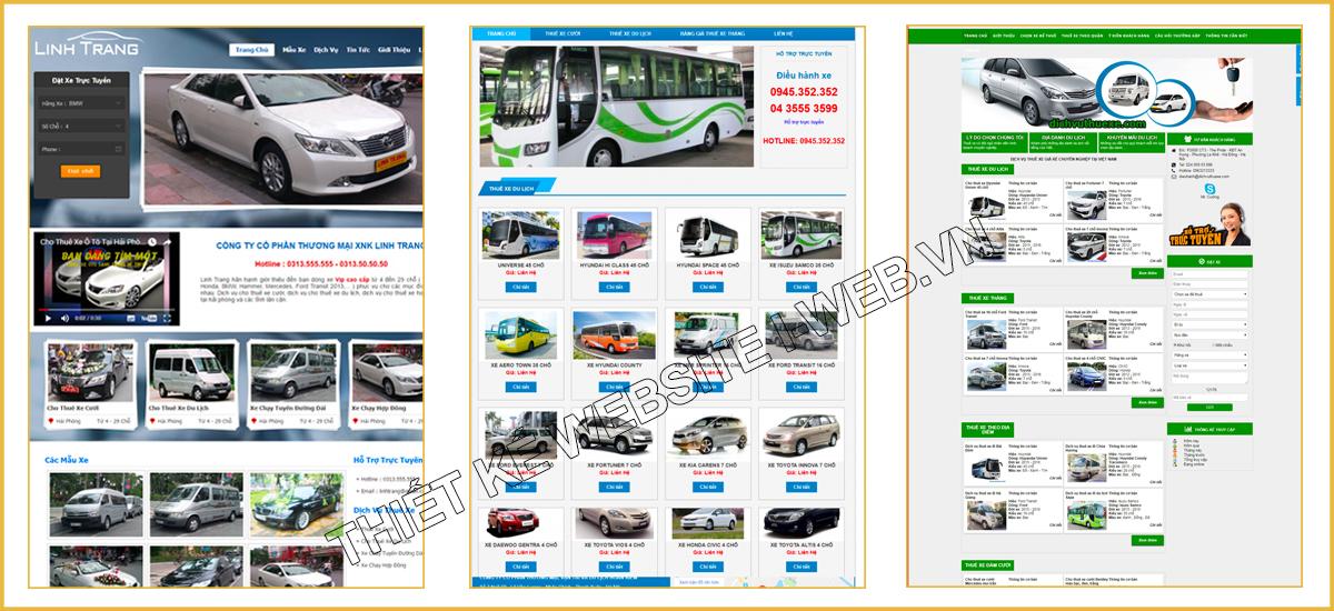 giao diện web thuê xe