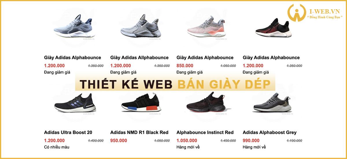 lưu ý khi thiết kế web bán giày dép