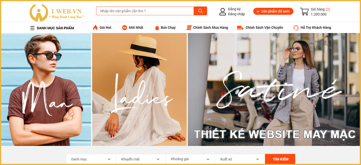 thiết kế website may mặc