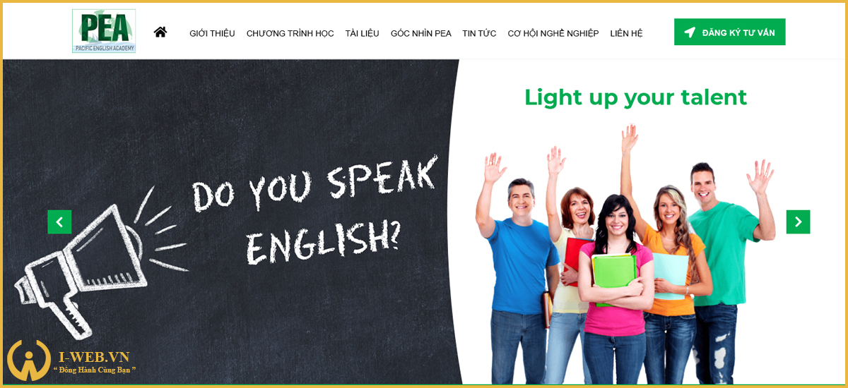thiết kế web trung tâm anh ngữ